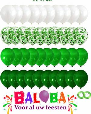 80 stuks Groen, Licht Groen, Wit & Confetti Ballonnen met Lint