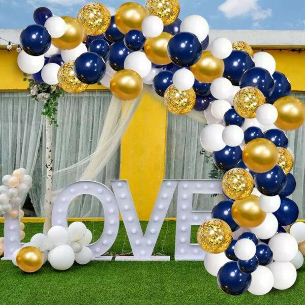 BallonnenBoog Goud, Wit & Blauw
