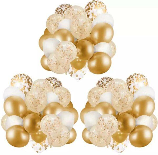 60 stuks Gouden, Wit & Confetti Ballonnen met Lint