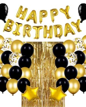 Zwart & Goud Verjaardag Decoratie Set