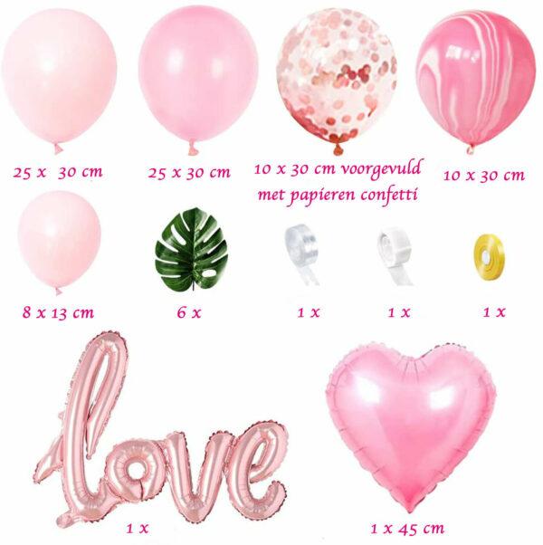 inhoud roze ballonnenboog