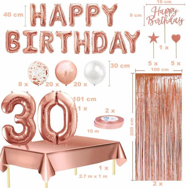 Rose Goud Verjaardag Versiering Set